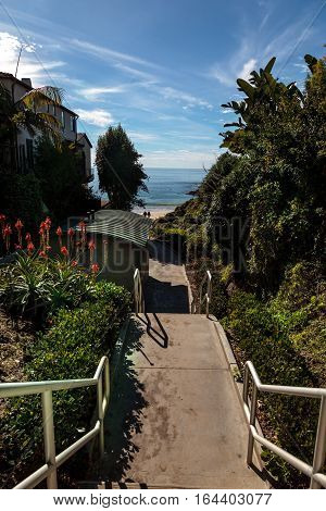 Steps to Shaw's Cove Beach in Laguna Beach, California, USA