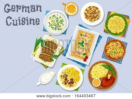 German cuisine dinner with fruit dessert icon of baked ham hock with beer, pork ribs with cabbage and potato, meat roll, fish soup with dumplings, cheese apple salad, sauerkraut salad, cherry strudel
