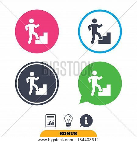 Upstairs icon. Human walking on ladder sign. Report document, information sign and light bulb icons. Vector