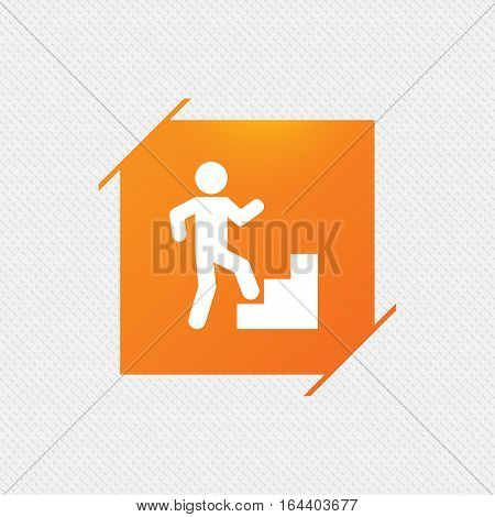 Upstairs icon. Human walking on ladder sign. Orange square label on pattern. Vector