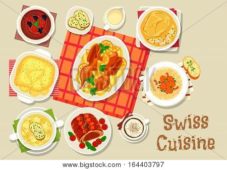 Swiss cuisine dinner with dessert icon of baked beef in puff pastry, cheese soup, melted cheese with potato, duck baked with fruits, chocolate mousse, baked chicken with cream, barley beef soup