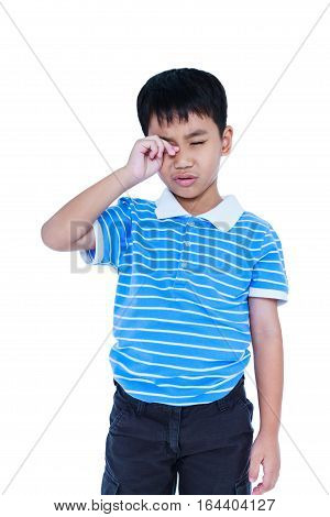 Eyes Pain. Asian Child Suffering From Eyestrain. Isolated On White Background.
