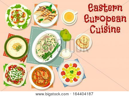 Eastern european cuisine dinner icon with vegetable fish salad, pepper sausage salad, zucchini salad with salami, herring in apple sauce, fish soup, beer soup with cream, pancake roll with cream