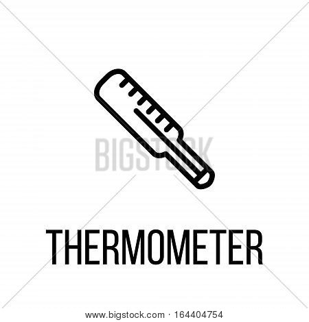 Thermometer icon or logo in modern line style. High quality black outline pictogram for web site design and mobile apps. Vector illustration on a white background.