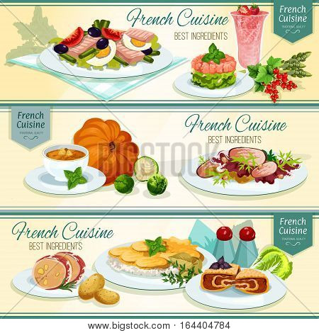 French cuisine popular food banner. Potato cheese casserole, fish salad with tomato and olive, salmon tartare, pumpkin cream soup, duck salad, liver in bacon, berry cream dessert, stuffed cabbage