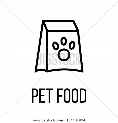 Pet food icon or logo in modern line style. High quality black outline pictogram for web site design and mobile apps. Vector illustration on a white background.