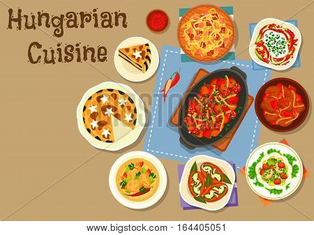 Hungarian cuisine meat dishes icon with tomato pepper stew with sausage, cabbage stew with ham, fish vegetable salad with egg, paprika chicken, marinated sausage, salami pepper salad, poppy cream pie