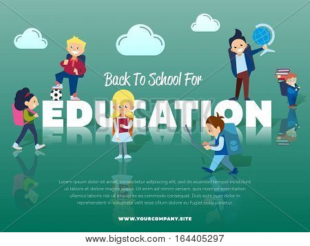 Back to school for education banner with pupils vector illustration. Happy kids with backpack and school supplies - globe, books, laptop. Elementary education. Cute school children.