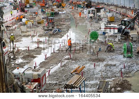 Monaco, Monte Carlo - September 16, 2016: Builders working on the construction site. Industrial concept