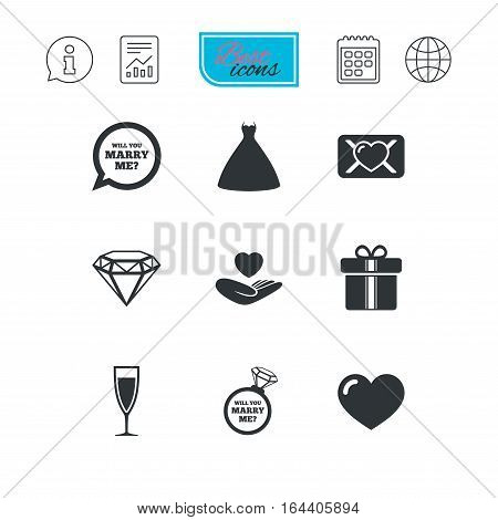 Wedding, engagement icons. Love oath letter, gift box and brilliant signs. Dress, heart and champagne glass symbols. Report document, calendar and information web icons. Vector