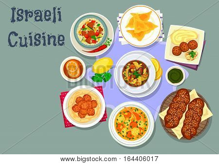 Israeli cuisine tasty dinner icon with chicken dumpling, chicken meatball, jewish sweet bread, chicken soup with dumpling, chickpea falafel, beef vegetable soup, lamb vegetable couscous