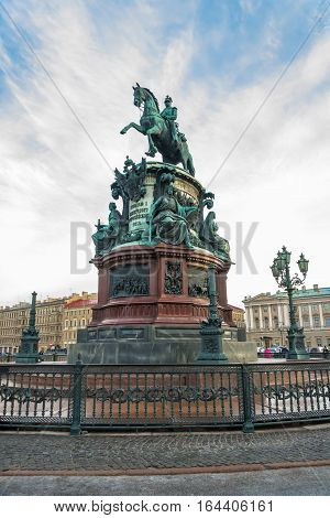 Monument To Emperor Nicholas I On St. Isaac's Square In Saint Petersburg, Russia.