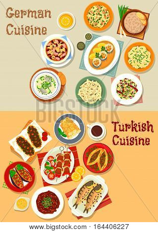 German and turkish cuisine icon with grilled meat, pork sauerkraut, cheese fruit, potato and sausage salads, meat and cheese pies, bean sausage stew, baked fish and eggplant, herring roll, fish soup