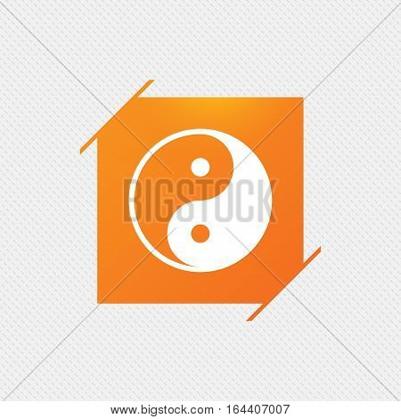 Ying yang sign icon. Harmony and balance symbol. Orange square label on pattern. Vector