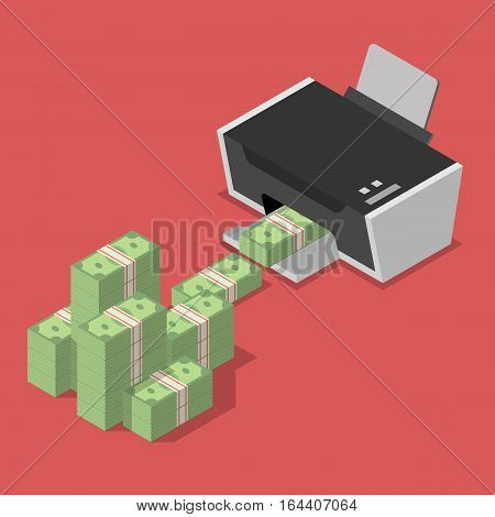 Printing money for business. Quantitative easing concept