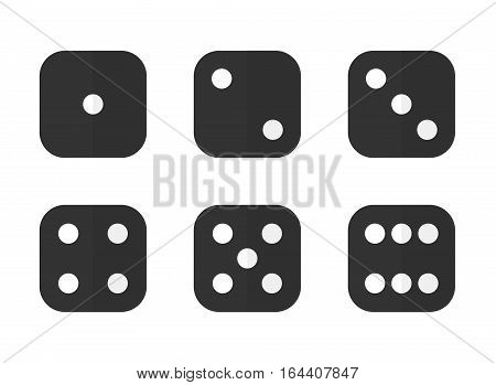 6 dices in different combinations in modern flat style