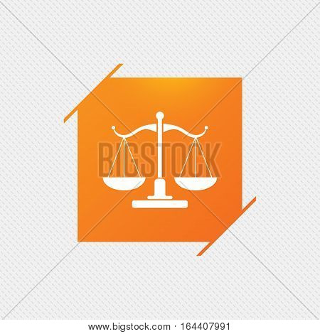 Scales of Justice sign icon. Court of law symbol. Orange square label on pattern. Vector