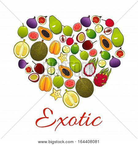 Exotic fruit love heart poster, composed of tropical feijoa, carambola, passion fruit, fig, dragon fruit, lychee, guava and durian. Tropical juice or fruit drink label design