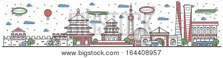 Travel in China country banner vector illustration. Worldwide traveling concept with famous modern attractions. China country landmark panorama tourist line design poster. Travel banner design. Best world travel China landmarks concept