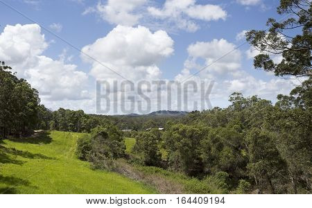 Landscape view of the Yandina hinterland in Queensland Australia