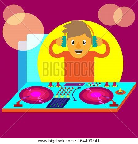 Disc Jockey or DJ with Equipments Cartoon Illustration
