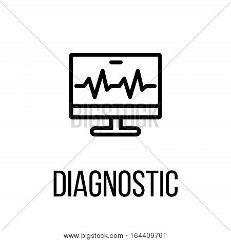 Diagnostic icon or logo in modern line style. High quality black outline pictogram for web site design and mobile apps. Vector illustration on a white background.