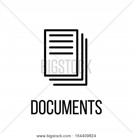 Documents icon or logo in modern line style. High quality black outline pictogram for web site design and mobile apps. Vector illustration on a white background.
