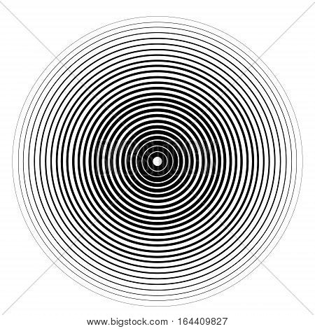 Concentric circle element. Black and white color ring. Vector illustration for sound wave on a white background.