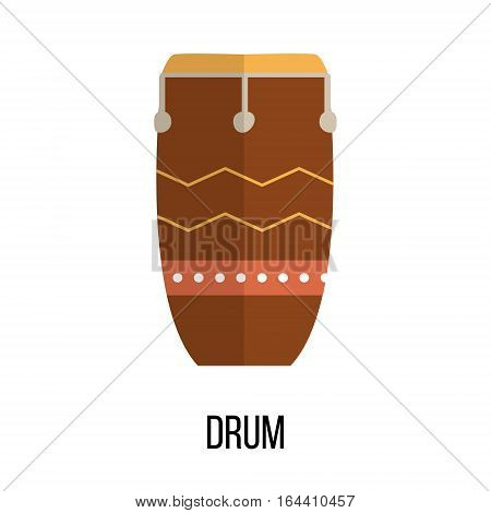 Isolated image of drum on white background. Vector illustration in flat style design.