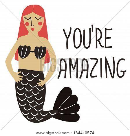 Funny card with cute cartoon mermaid.