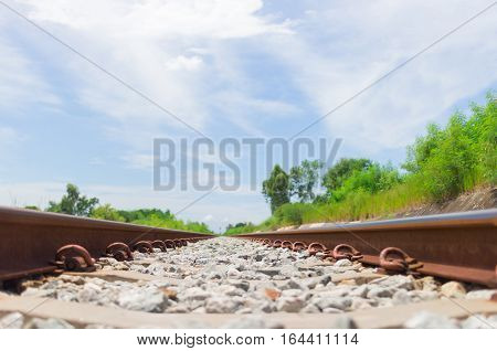 Railroad and sky ,Tracks Bright sky Closeup