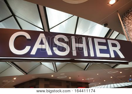 Light box label of Cashier sign in the market