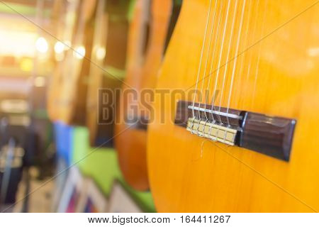 Guitar,Guitar Wood close up And orange light
