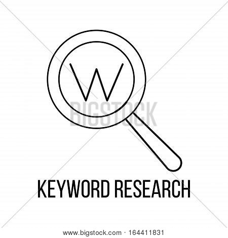 Keyword research icon or logo line art style. Vector Illustration.