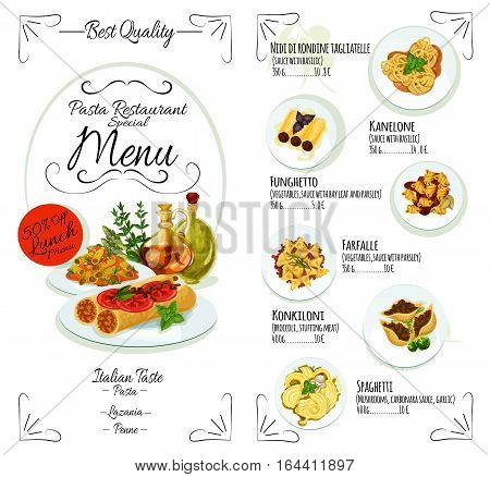 Pasta menu template of italian cuisine restaurant. Spaghetti with tomato, cheese, basil and mushroom, stuffed pasta with vegetables and meat, seafood lasagna dishes list with prices and ingredients