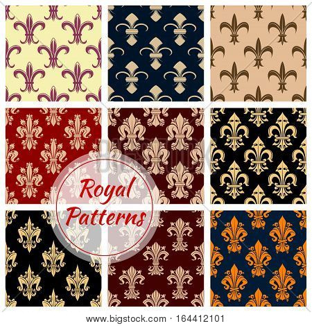 Fleur-de-lys french royal seamless pattern set. French floral background with royal lily flowers, swirls and victorian flourishes. Wallpaper, interior accessory, fabric design