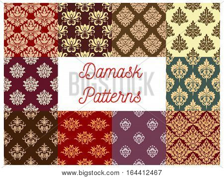 Damask ornament seamless pattern set. Baroque floral background with ornate flowers, leaves and victorian flourishes. Vintage embellishment and fabric design