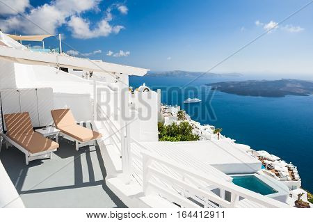 Beautiful Terrace With Chaise Lounges, Sea View.