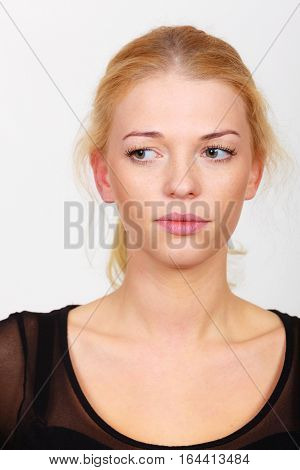 Attractive Woman Looking With Disgust At Something