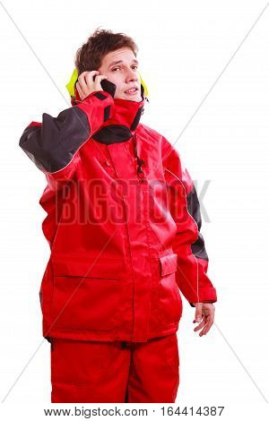 Man In Hood With Phone
