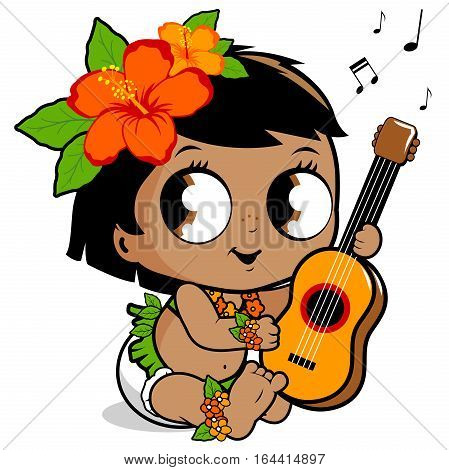 Hawaiian baby with a grass skirt, hibiscus flowers and garland playing music with her ukulele.