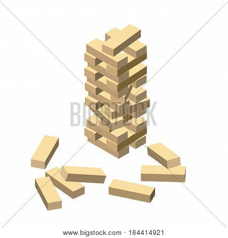 Wood game - jenga. Wooden blocks. Vector illustration eps 10 isolated on white background. Isometric cartoon style