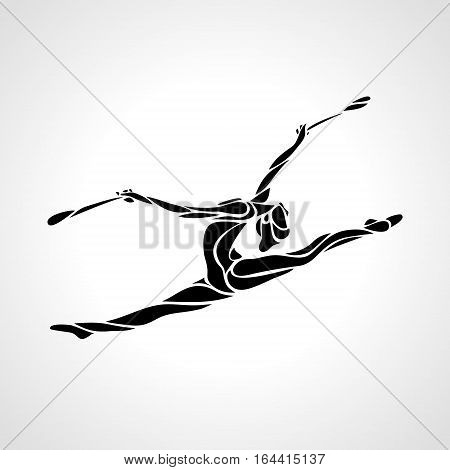 Creative silhouette of gymnastic girl. Art gymnastics with clubs, black and white vector illustration