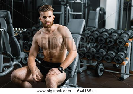 Strong confident bearded man is sitting on sports apparatus. He directly looking at camera