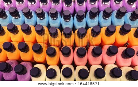 Wash chemical detergent in bright colors for clothes