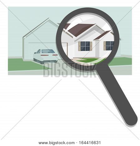 Buying and selling real estate real estate agency. Villas cottages apartments private property the house search for the right property. Concept vector flat