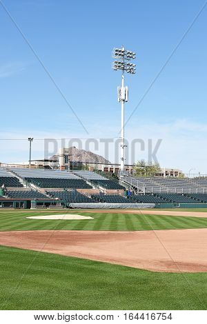 SCOTTSDALE ARIZONA - DECEMBER 9 2016: Scottsdale Stadium looking from The Right Field stands across the infield. The stadium is the Spring Training home of the San Francisco Giants.