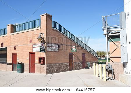 SCOTTSDALE ARIZONA - DECEMBER 9 2016: Scottsdale Stadium Right Field Bleachers. The stadium is the Spring Training home of the San Francisco Giants.