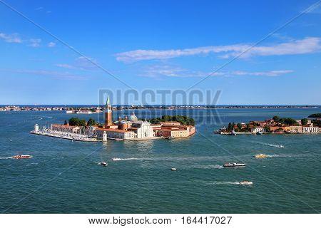 Aerial View Of San Giorgio Maggiore Island In Venice, Italy