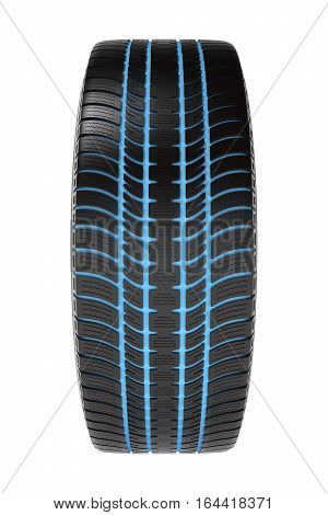 Car winter tire with separate tread on white background, 3D illustration